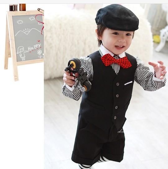 Top Vender Crianças Smoking Bonito Uniforme Escolar Estudioso Primária Nomal Prom Ternos do Menino (Colete + Calça Curta + Arco gravata + Camisa) N °: 086