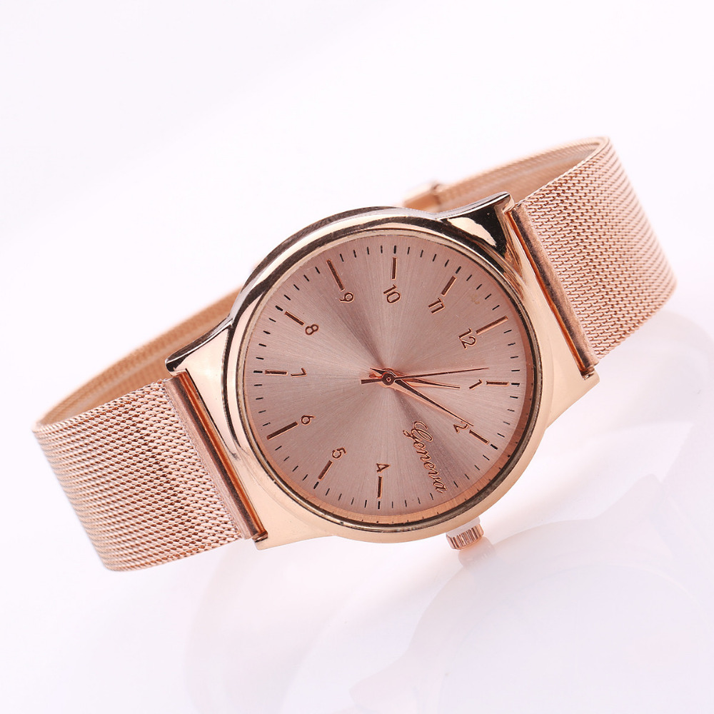 Geneva Watch Womens Rose Gold Watches Reloj Mujer Clock Simple Bracelet watch Mesh Stainless Steel Relogio