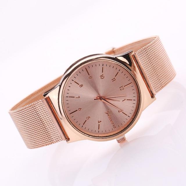 1baa3e2459f Genebra Assistir Mulheres Ouro Rosa Relógios Reloj Mujer Relógio Simples  Pulseira de relógio de Malha de
