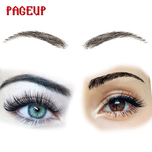 Image 1 - Pageup Handmade False Eyebrows For Women Made By 100% Real Hair For Party Wedding Cosplay Star Fake Eyebrow Synthetic Eyebrows