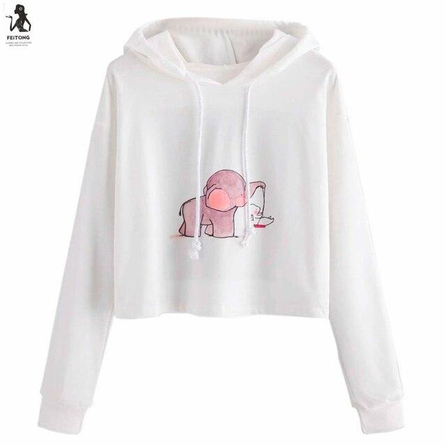 51415856d Mulheres Dos Desenhos Animados Imprimir Sweatershirt Manga Longa Moletom  Com Capuz Blusa Tops Camisa