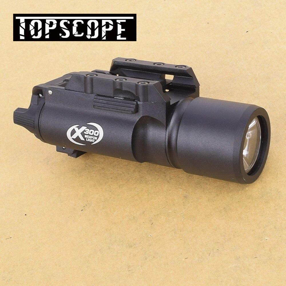 X300 pistola tático arma de luz 500 lumens alta saída arma lanterna caber 20mm picatinny weaver ferroviário