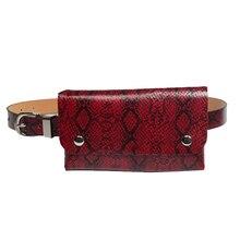 купить Serpentine leather Waist Pack Belt Bag Fashion Women Waist Bags PU Ladies Fanny Pack High Quality Purse Female Chest Bag дешево