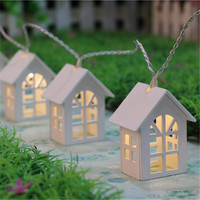 1 1 65M 10LED Wooden Warm House Shaped String Lights 2 AA Battery Powered LED String