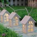 1*1.65M 10LED Wooden Warm House Shaped String Lights,2*AA Battery-powered LED String Lights for House Wedding Garden Decoration