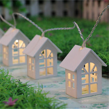 1*1.65M 10LED Wooden Warm House Shaped String Lights,2*AA Battery-powered LED String Lights for House Wedding Garden Decoration