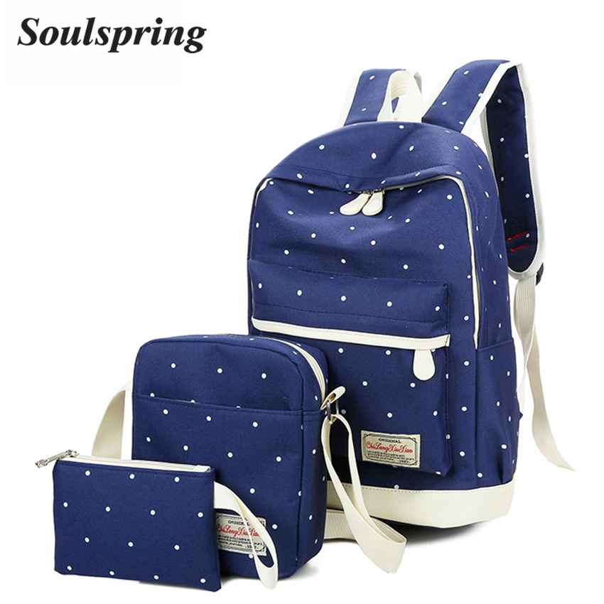 Canvas Dot Backpack Women Preppy Style School Bag For Teenagers Girls Composite Bags Large Capacity Female Backpacks 3Pcs/Sets  pleega new 2017 preppy style student leisure school bag teenagers girl canvas backpack boy school backpack big backpack notebook