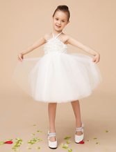 2016 new satin and mesh white halter A line flower girls dresses with beads kids girls