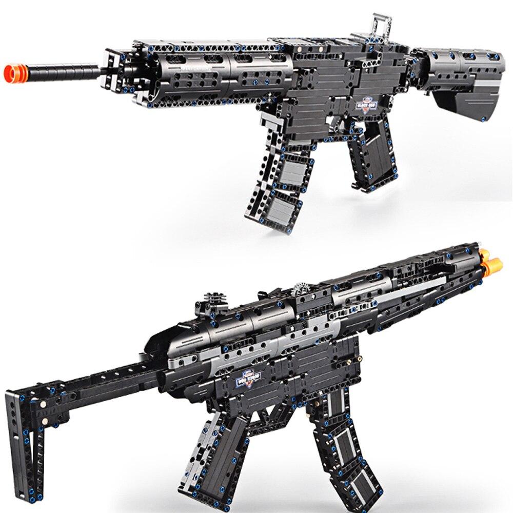SWAT Revolver D'émission Pistolet M1A1 MP5 PISTOLET Lot Legoing Building Block Technique Modèle Ensembles de Briques Arme Enfants Garçon Jouet Cadeau