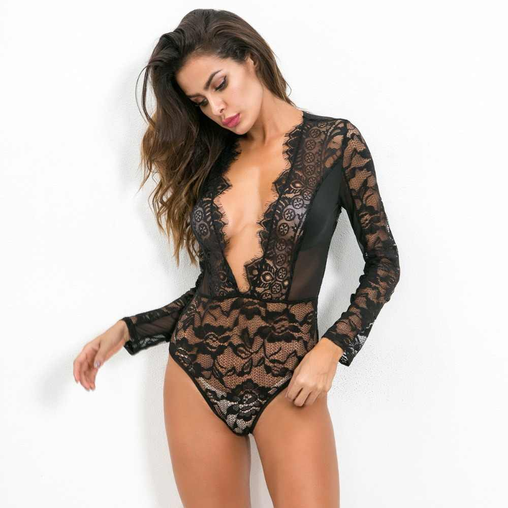 70472f4f4be sexy deep v-neck long sleeve transparent lace bodysuit plus size rompers  womens jumpsuit summer