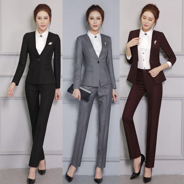 Nuevo Profesional Pantsuits Formales Con Chaquetas Y Pantalones para Mujer Pantalones Trajes de Negocios Señoras de la Oficina Pantalones Fijados Ropa de Trabajo
