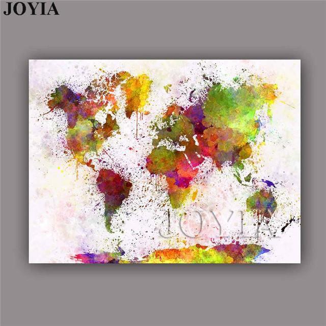 Large watercolor canvas art picture maps world map wall painting large watercolor canvas art picture maps world map wall painting colorful art prints for living room gumiabroncs Images