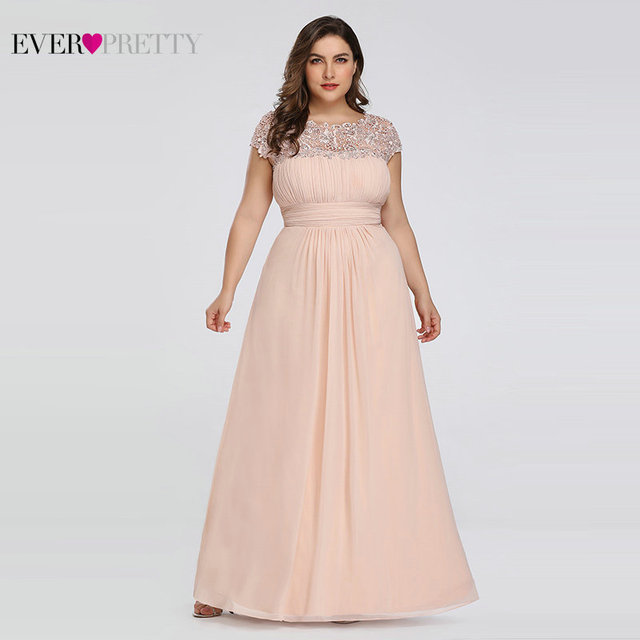 Ever Pretty Plus Size Evening Dresses 2020 New Arrival Elegant A Line Chiffon Open Back Long Lace Formal Party Gowns EP09993 18