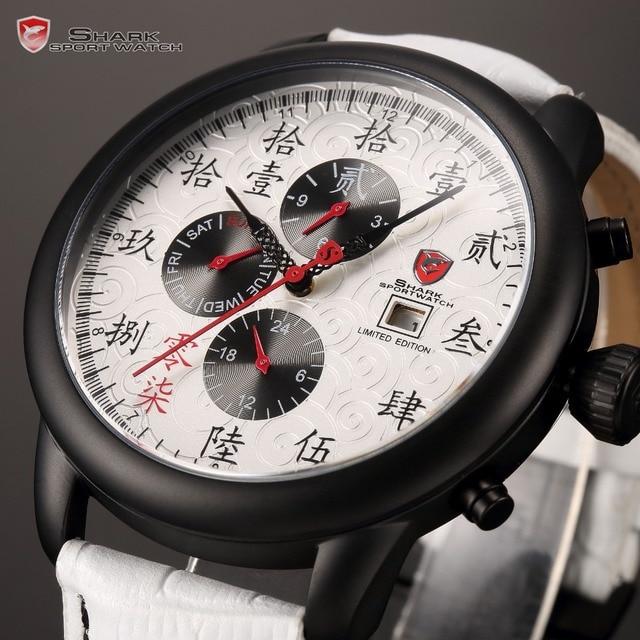 087922e1e41 Tubarão marca de luxo números estilo chinês Relogio Masculino Auto data de  exibição branco homens pulseira