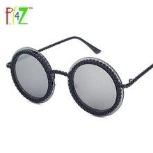 F.J4Z 2017 Fashion Retro Designer Women Round Circle Sunglasses Classic Fake Stone Frame Eye Shades Goggles UV400