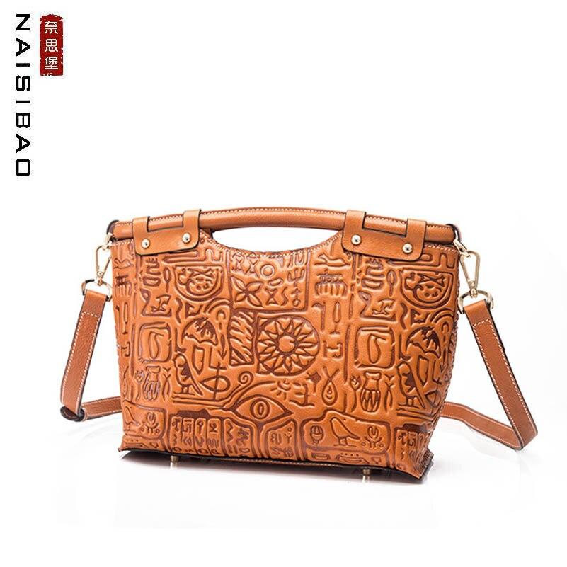 NASIBAO 2019 New Women Genuine Leather bag Embossed Handbags Cowhide Fashion luxury tote women Leather shoulder Crossbody bag