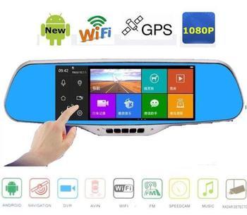 """7,0 """"espejo retrovisor para coche DVR Cámara GPS de navegación Android 4,4 Full hd 1080p grabador de vídeo Cámara wifi 8GB con el mapa"""