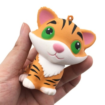Lively Jumbo Squishy Tiger Super Slow Rising Squeeze Bread Animal Phone Straps Soft Scented Cake Toys Doll Gifts