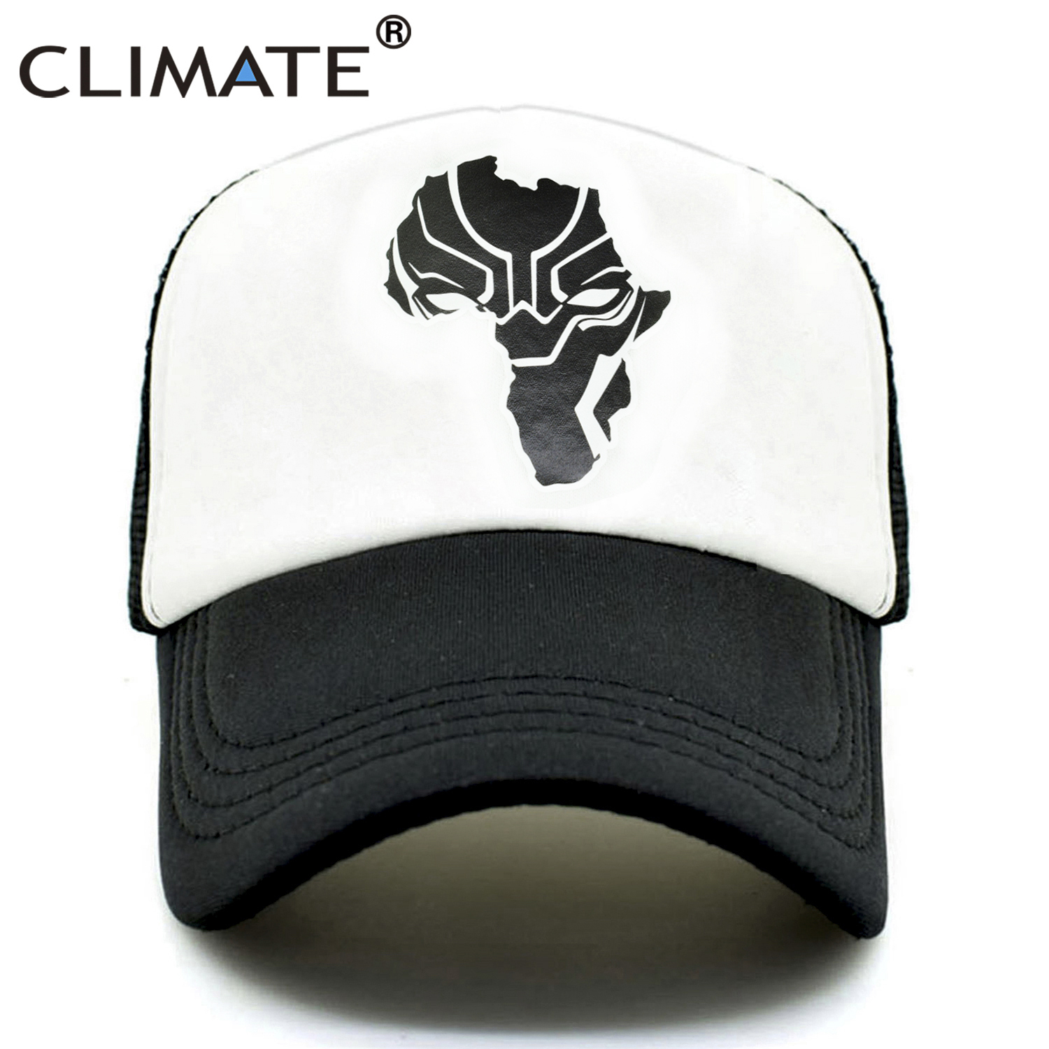 CLIMATE Wakanda Black Panther Caps Hat Men Women Trucker Cap Cool Summer  Caps Super Hero Adjustable Baseball Mesh Cap Hat Men-in Baseball Caps from  Apparel ... adaec55eeb85