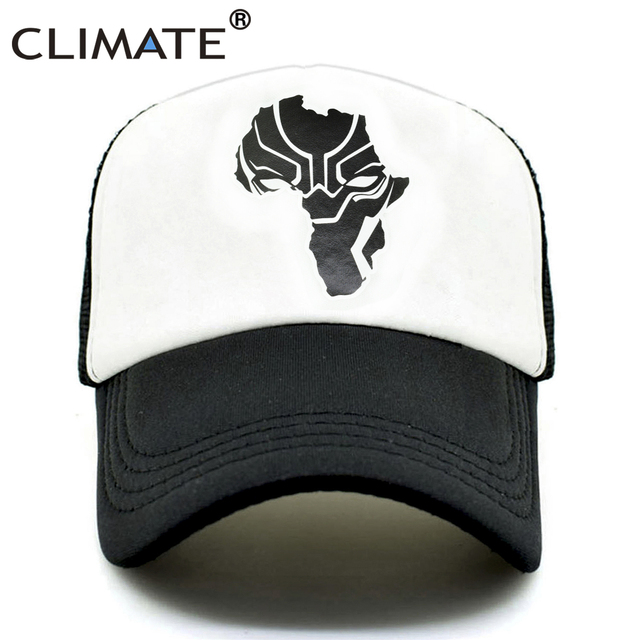 CLIMATE Wakanda Black Panther Caps Hat Men Women Trucker Cap Cool Summer  Caps Super Hero Adjustable b060458356f