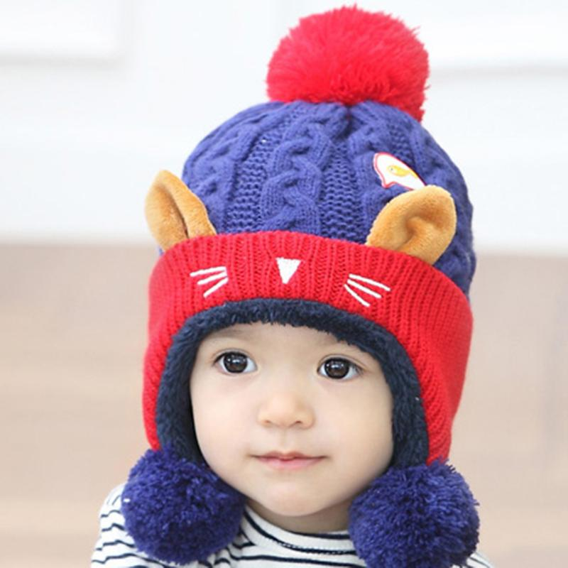 1pcs Cute Baby Winter Hat Warm Child Beanie Cap Animal Cat Ear Kids Crochet Knitted Hat For Boys Girls Hot Girl's Hats