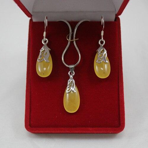 6cc737f7e2e8 Envío libre  venta al por mayor de la señora encantadora amarillo plateado natural  piedra waterdrop colgante y del pendiente de la joyería s004