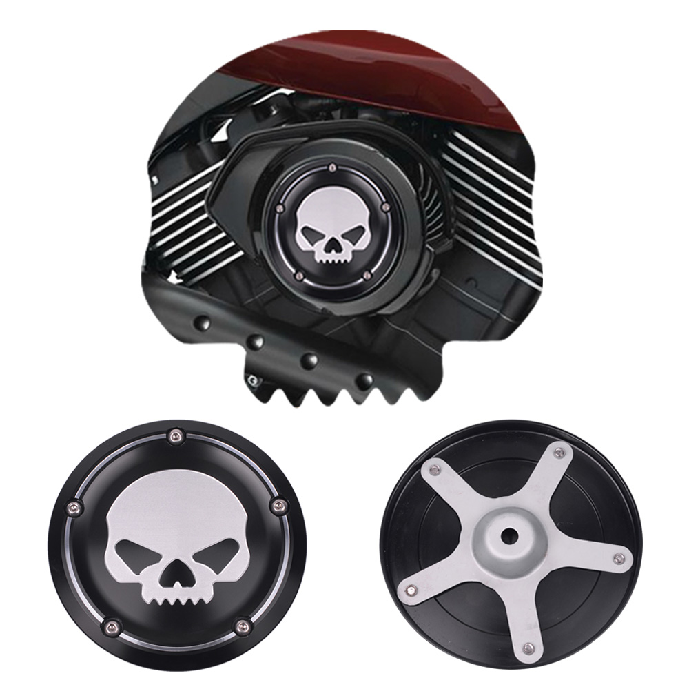 Skull Air Cleaner Cover : Black motorcycle skull air cleaner cover deep cut cnc