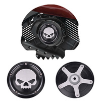 Black Motorcycle Skull Air Cleaner Cover Deep Cut CNC Aluminum Decorative Cover Accessories For Harley Street