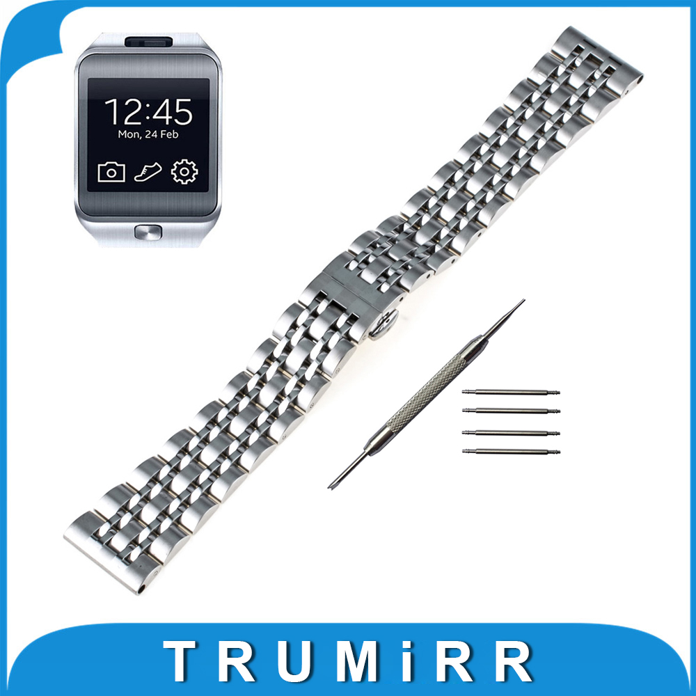 22mm Stainless Steel Watch Band Butterfly Buckle Strap for Samsung Gear 2 R380 Neo R381 Live R382 Wrist Belt Bracelet + Tool stainless steel watch band 22mm for samsung gear 2 r380 r381 r382 pin clasp strap wrist loop belt bracelet black silver