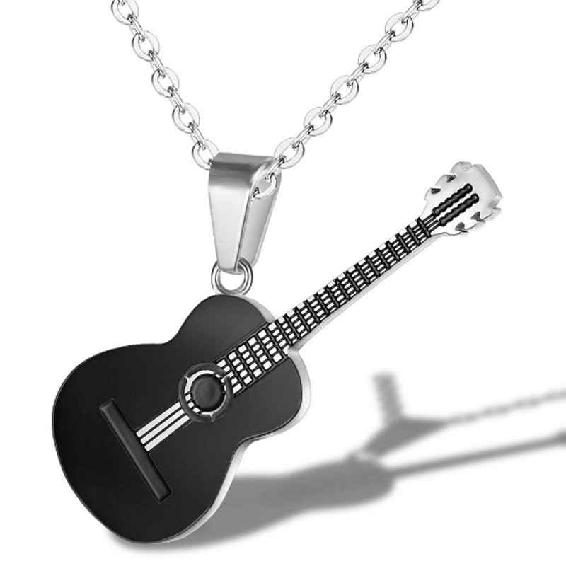 Creative Music Guitar Pendant Necklace Titanium Steel Punk Rock Necklace Link Chain Music Jewelry for Men Party Wedding Gift in Pendant Necklaces from Jewelry Accessories