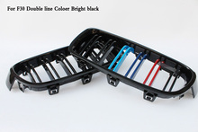Two line ABS Coloer Carbon black Grill Fit For BMW 3-Series F30 F35 320i 328i