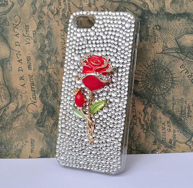 free shipping Handmade  red rose flower case for iphone 4S 5  bling clear crystal rhinestone protective cover [JCZL DIY Shop]