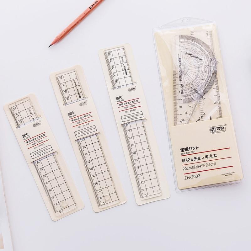 Regla de plástico de estilo sencillo transparente 1 Uds., regla Escolar para estudiantes, oficina, aprender papelería, suministros para escuela dibujo