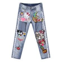 Новый 2016 летом мода женщин европейский стиль бисером отверстие джинсовые брюки карандаш тонкие бедра свободного покроя джинсы D6115