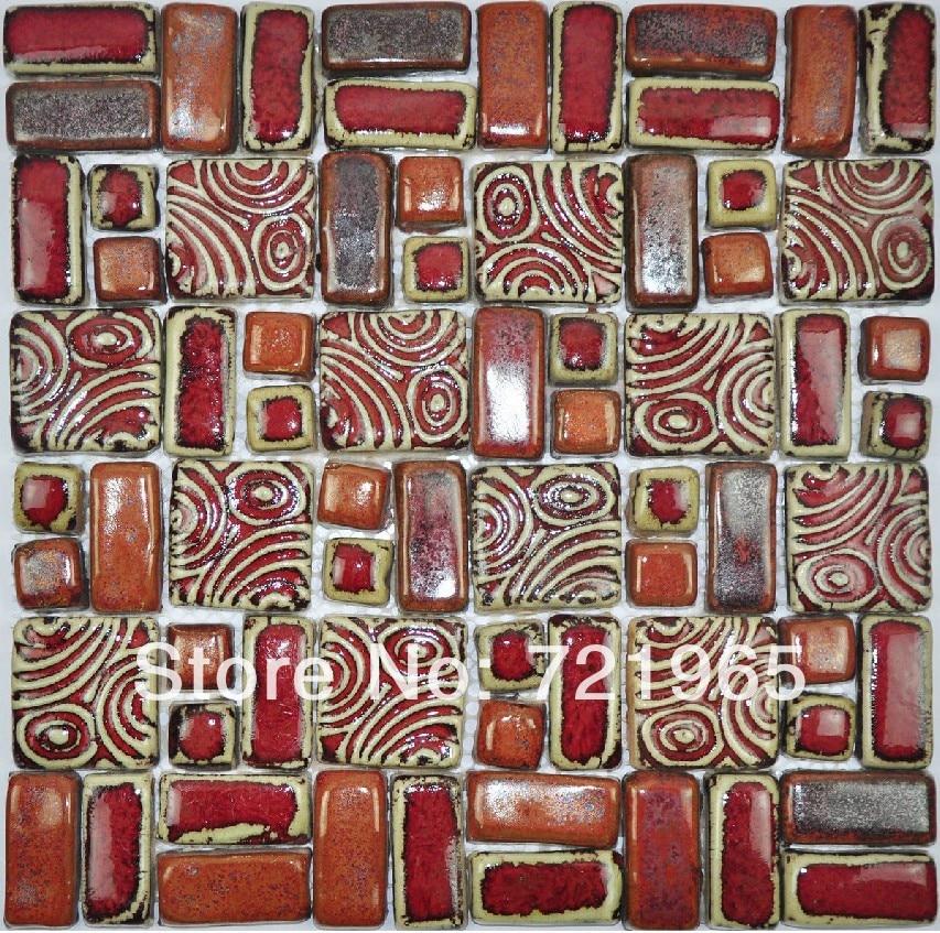 Art Décor: Hand Craft Red Porcelain Mosaic Tiles Backsplash Kitchen
