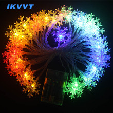 IKVVT LED 10M 100LEDS Fairy String Garland Christmas Tree Curtain Snow Outdoor Home Decorative Lights Luces Led Lamp