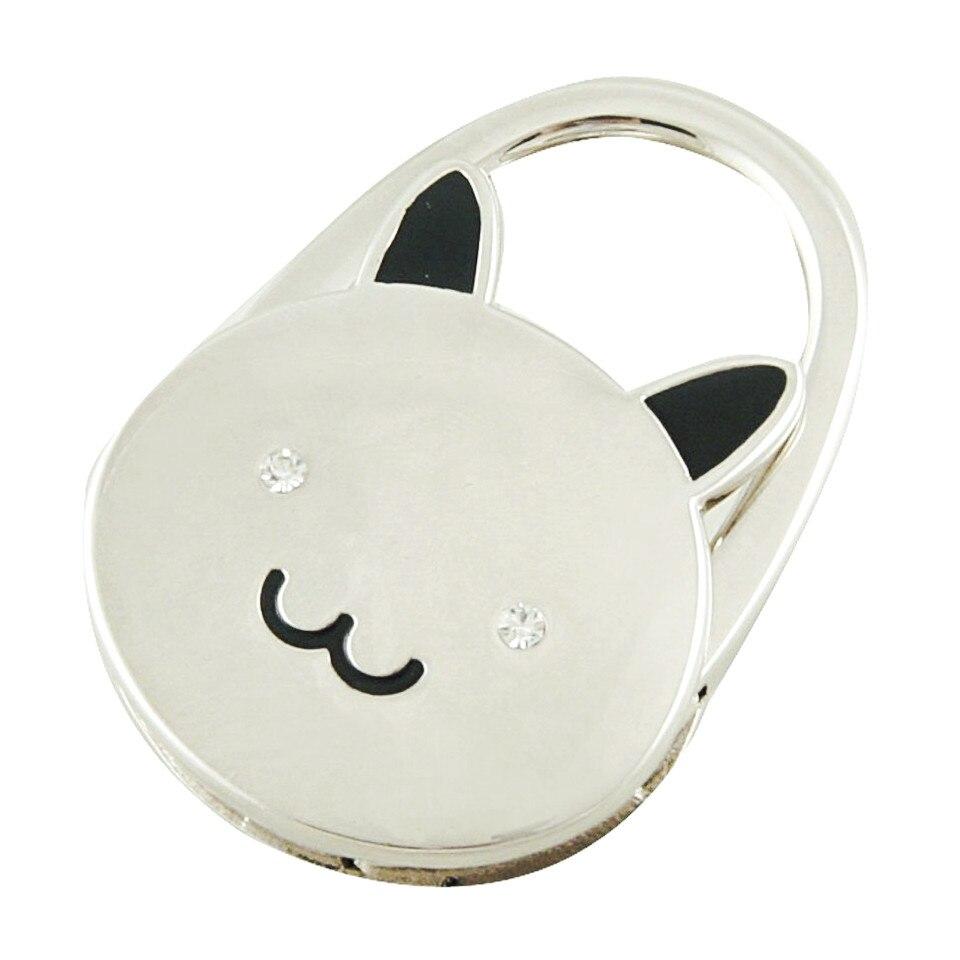 Cat Cartoon Foldable Silver Tone Handbag Hook Antislip Rubber Base bag holder Best Selling