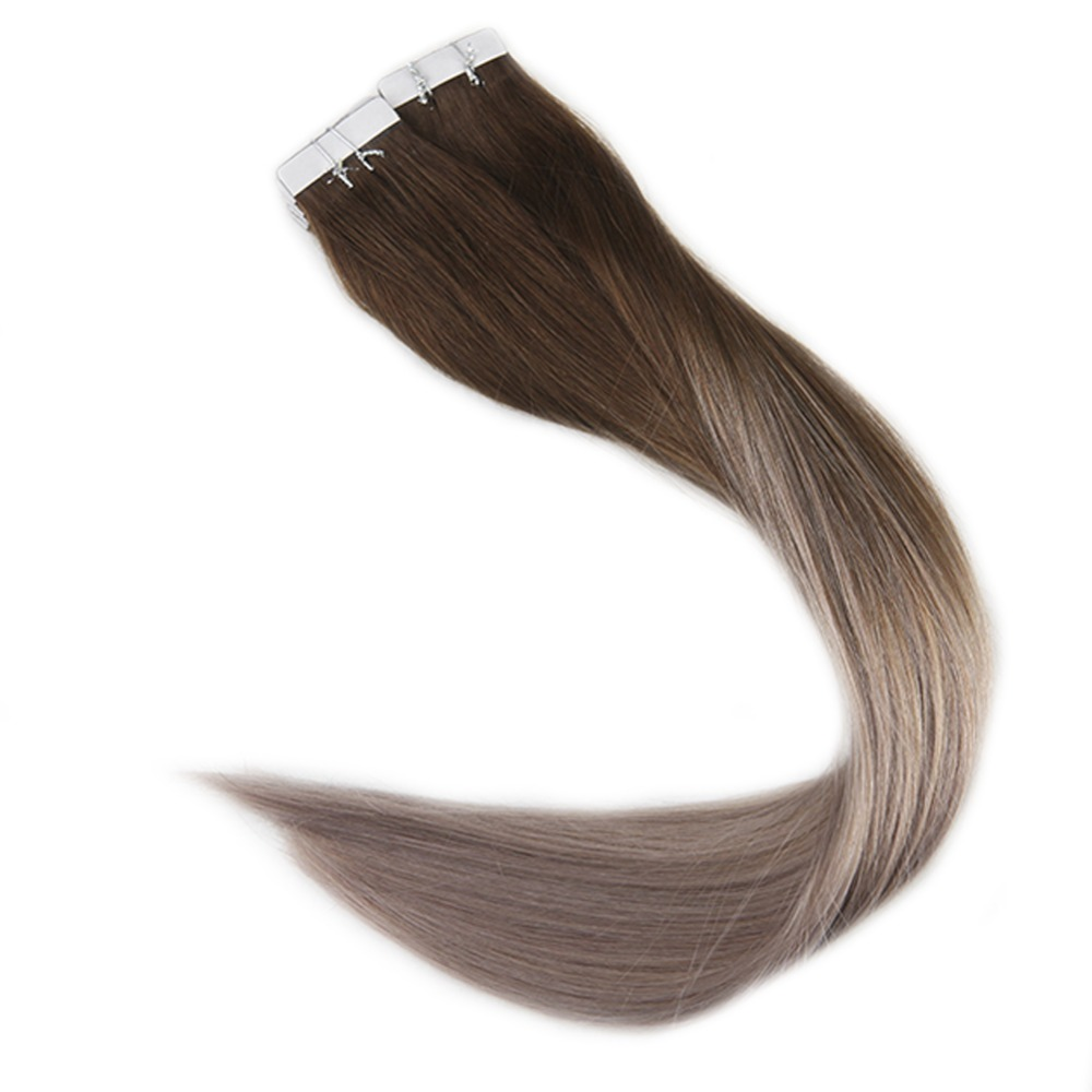 Full Shine 100 Gram Color #4 Dark Brown Fading To #18 Ash Blonde Balayage Tape In Hair Human Remy Hair Extensions Glue On Hair