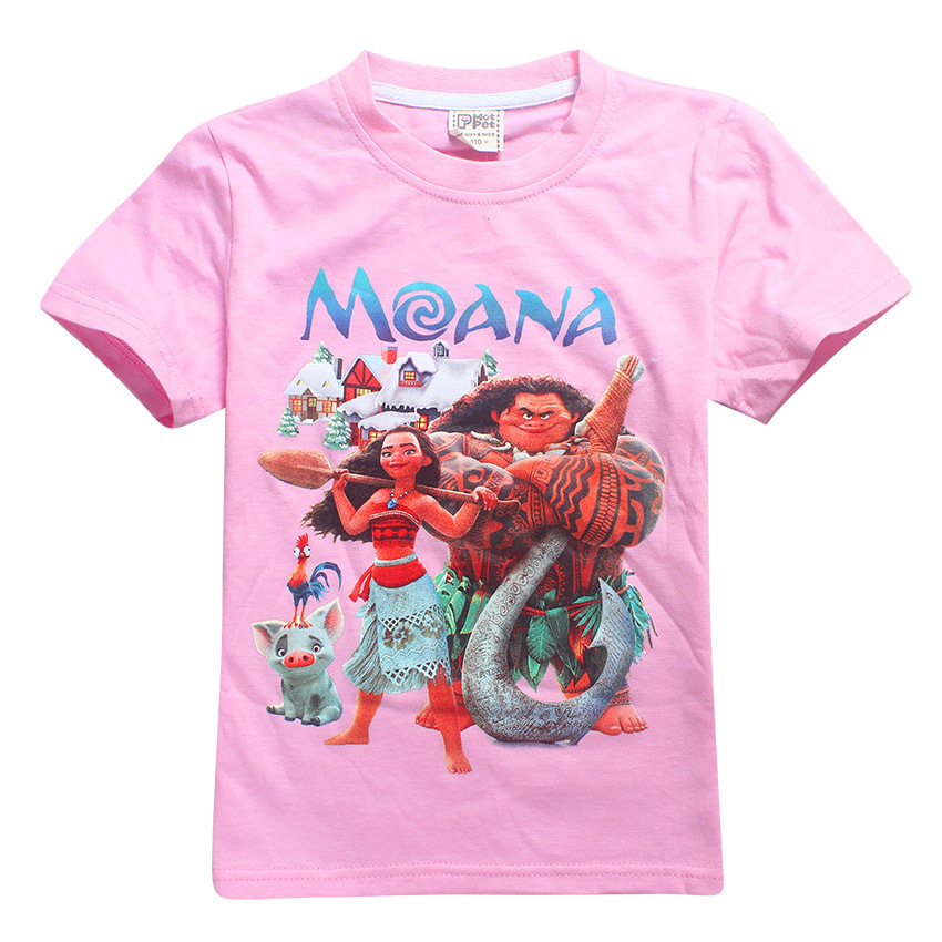 New Moana Tshirt Children Tees T-Shirts Girls Trolls poppy Clothes Baby Girl Clothes Summer t shirt For Girls Tops Kids