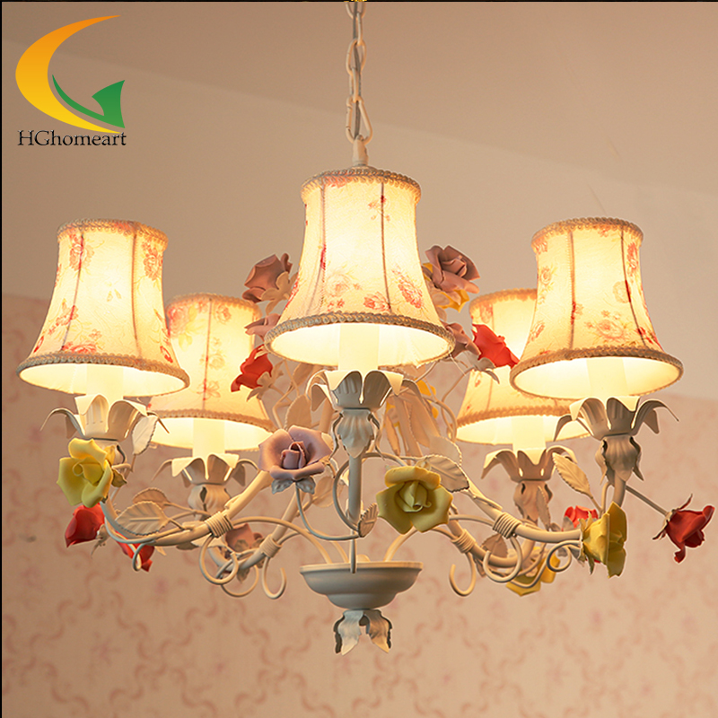 Living room chandelier lighting dining room chandelier European-style garden style wrought iron light flowers led lamp