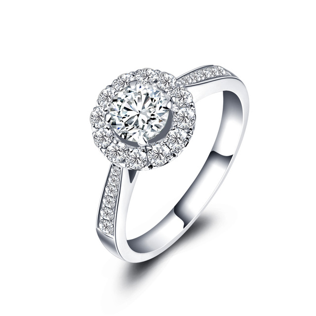 Set In 18k White Gold Diamond Ring Genuine Platinum Rose Gold