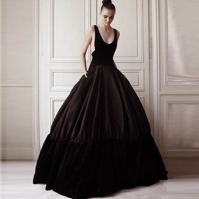 Online Shop Vintage Black Patched Satin And Velour Ball Gowns Long ...