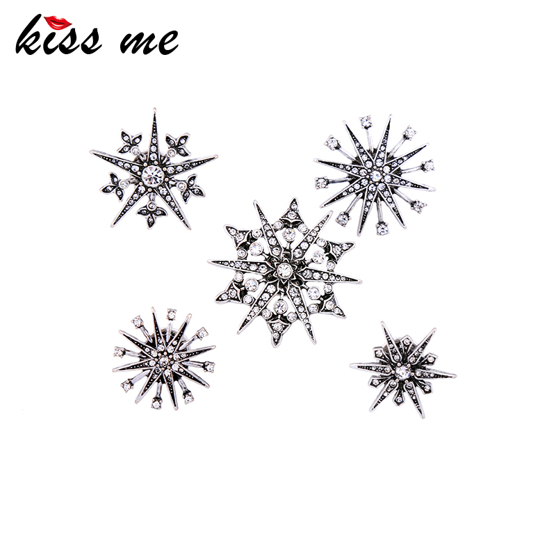 KISS ME 5pcs/set Geometric Crystal Brooches for Women Charming Brand Jewelry Accessories 2017