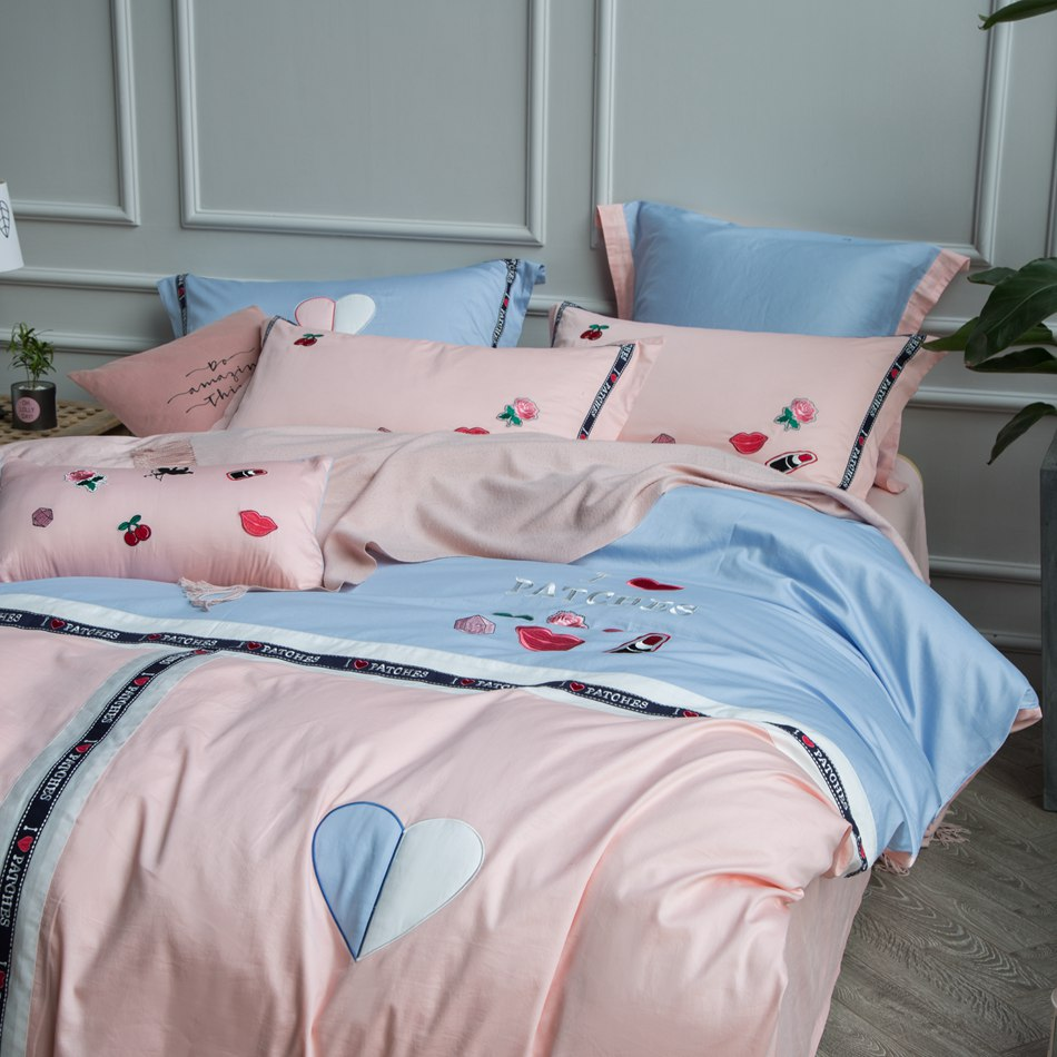 Love pink cheetah bedding - Pink Blue Bedding Set Love Kiss Embroidered Duvet Cover Bed Linen Pillowcase 100 Cotton Bedding