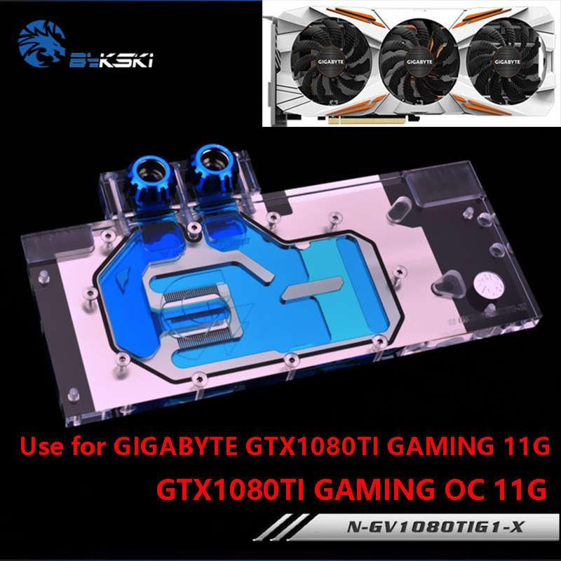 BYKSKI воды блок использовать для GIGABYTE GTX1080Ti-Gaming-OC-11G/GTX1080TI-GAMING-11G/GV-N108TTURBO-11GD полное покрытие медь