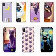 New Case Soft TPU Frame Tempered Glass Phone Anime Sailor Moon Lune Cat For  Apple iPhone 42b0cebbf5