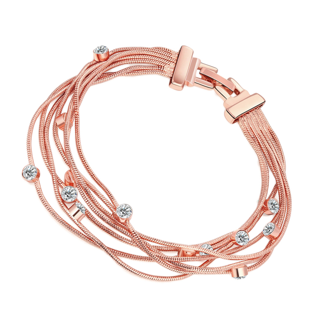 New Fashion Multi Layer Bracelet Simple Rose Gold Elegant Bracelets Cuff Wrist Jewelry For S