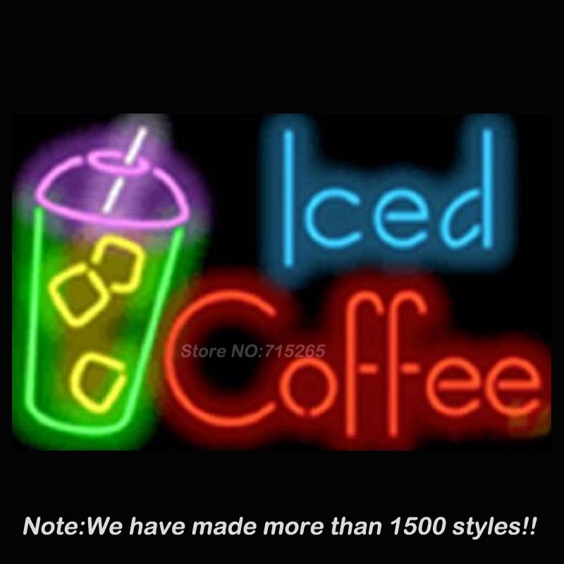 Iced Coffee Deit Catering Cafe Neon Sign Neon Bulbs Store Display Glass Tube Handcraft Recreation Advertising Great Gifts 17x14
