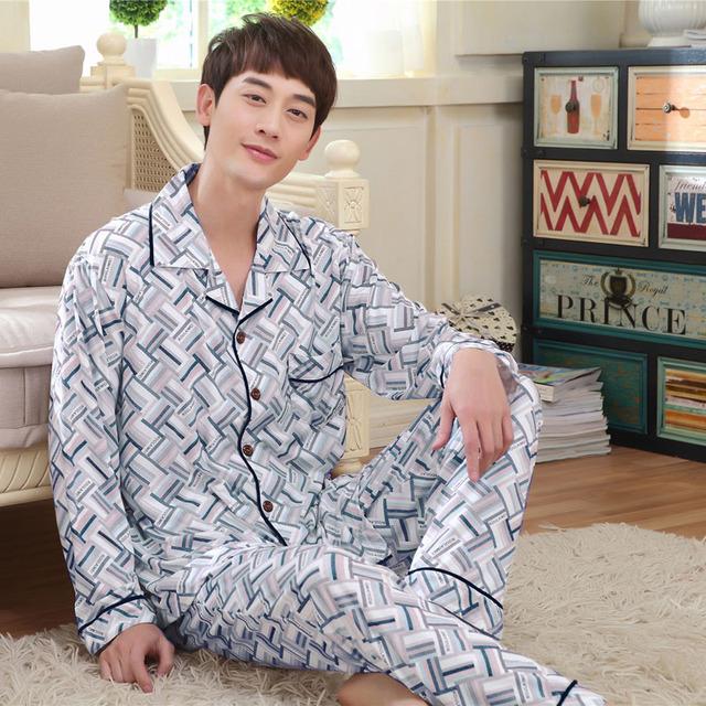 Pijamas Para Hombres Primavera Pijamas De Bambú Cómoda Suave de manga Larga Ropa de Dormir lounge Pijama Hombres Cardigan