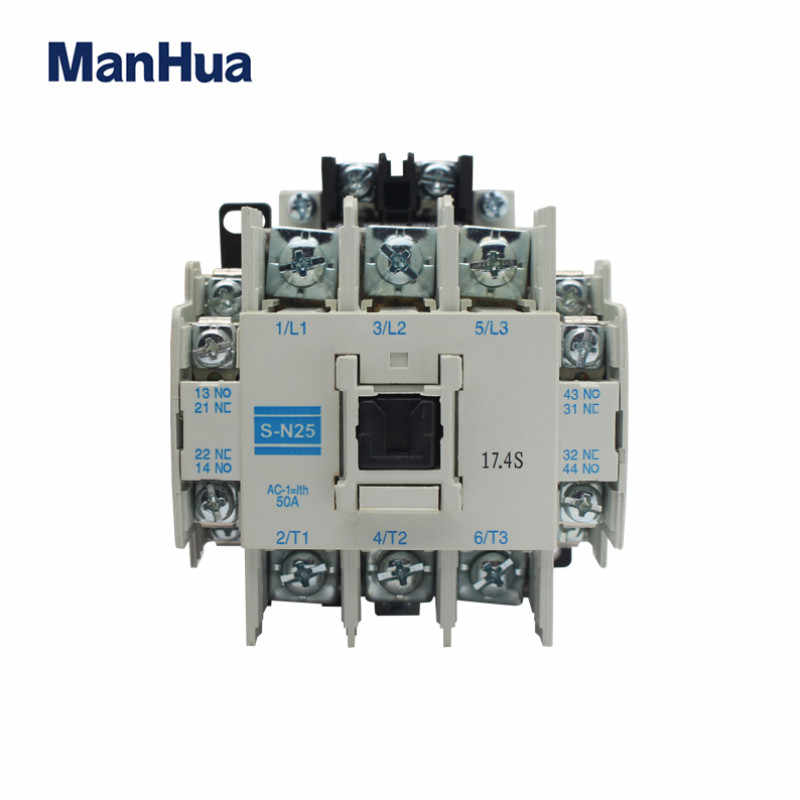 Manhua New and Original 220V-660V 25A Electric Magnetic AC Contactors S-N25  Three Phase Three Pole Type